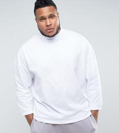 Оверсайз-футболка с высоким воротом и укороченными рукавами ASOS PLUS - Белый