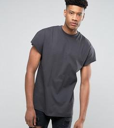 Свободная футболка из плотной ткани ASOS TALL - Серый