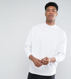 Белая оверсайз-футболка с высоким воротом и укороченными рукавами ASOS TALL - Белый