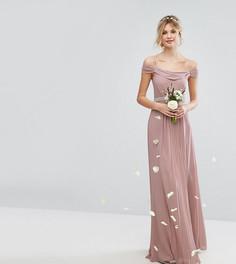 Платье макси с открытыми плечами и отделкой TFNC Tall Wedding - Розовый