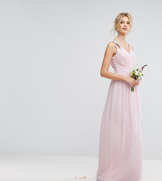 Декорированное платье макси с запахом TFNC Tall Wedding - Розовый