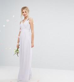 Декорированное платье макси с запахом TFNC Tall Wedding - Фиолетовый