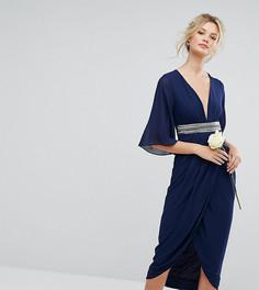Платье миди с запахом на юбке и рукавами-кимоно TFNC Tall - Темно-синий