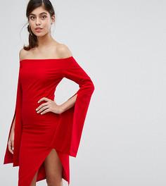 Платье миди со свободными рукавами и разрезом Dark Pink - Красный