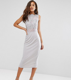 Платье-футляр миди с кружевным топом Club L Tall - Серый