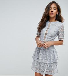 Кружевное платье с оборкой Missguided Tall - Серый