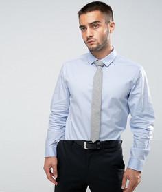 Синяя узкая рубашка и серый фактурный галстук ASOS - СКИДКА - Синий