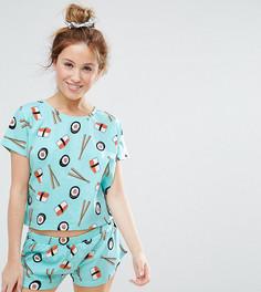Пижама (футболка и шорты) с принтом суши ASOS PETITE - Синий