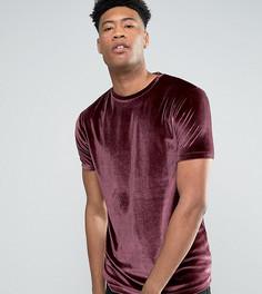 Темно-боровая велюровая футболка удлиненного кроя ASOS TALL - Красный