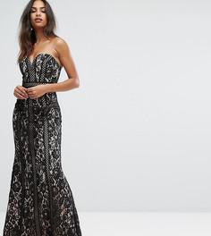 Кружевное платье макси с вырезом сердечком Bariano - Черный