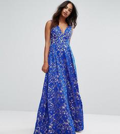 Кружевное платье макси с глубоким вырезом Bariano - Синий