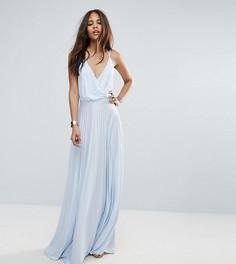 Платье макси с запахом и плиссированной юбкой ASOS TALL - Синий