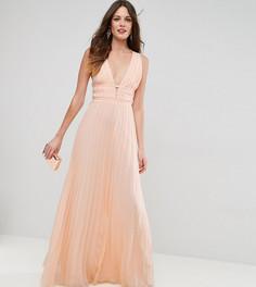 Плиссированное платье макси ASOS TALL - Розовый