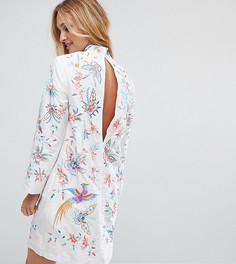 Платье мини из тафты с вышитыми птицами ASOS TALL - Кремовый