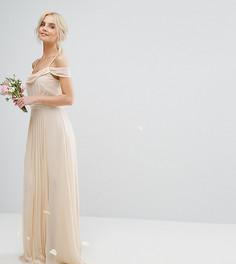 Платье макси с открытыми плечами и отделкой TFNC Petite Wedding - Кремовый