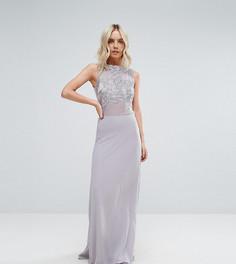 Платье макси с кружевной отделкой Club L Petite - Серый