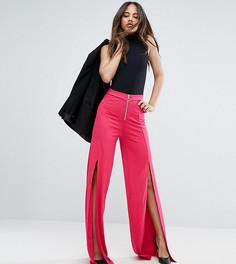 Широкие брюки с разрезами и молнией ASOS TALL - Розовый