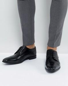 Черные кожаные дерби с отделкой под броги Base London - Черный