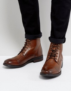 Светло-коричневые кожаные ботинки в стиле милитари Base London Clapham - Рыжий