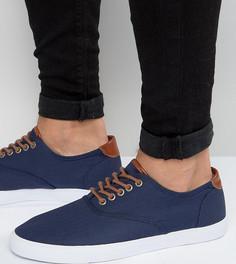 Темно-синие кеды на шнуровке для широкой стопы ASOS - Темно-синий