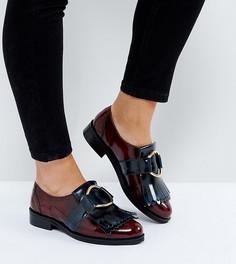 Кожаные туфли для широкой стопы на плоской подошве ASOS MILLENNIUM - Темно-синий