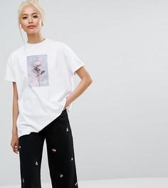 Оверсайз-футболка с принтом розы Lazy Oaf - Белый