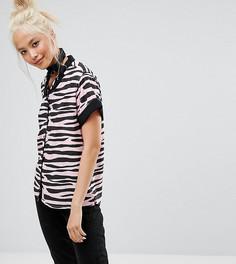 Рубашка с принтом зебра Lazy Oaf - Розовый