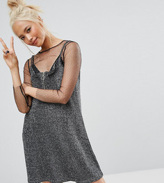 Камуфляжное платье с блестками и молнией Lazy Oaf - Черный