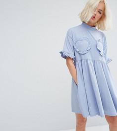 Свободное платье-футболка с отделкой рюшами в форме сердца Lazy Oaf - Синий