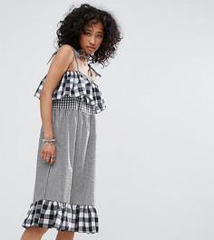 Комбинируемое платье в клетку с бретельками Milk It Vintage - Черный