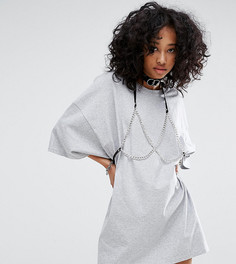 Свободное платье-футболка с цепочкой-бюстгальтером Milk It Vintage - Серый