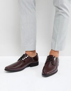 Бордовые лакированные туфли дерби со вставками ASOS - Красный