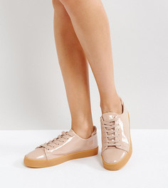 Лакированные кроссовки на шнуровке ASOS DARLEY - Бежевый