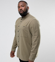Фактурная рубашка навыпуск цвета хаки ASOS PLUS - Зеленый
