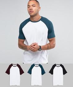 3 футболки с контрастными рукавами реглан ASOS - СКИДКА - Мульти