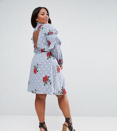 Платье-рубашка с оборками и цветочным принтом ASOS CURVE - Мульти