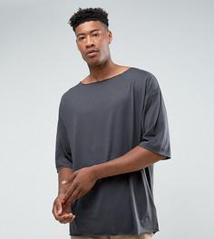 Черная оверсайз-футболка с вырезом лодочкой ASOS TALL - Черный