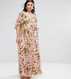 Плиссированное платье макси с рукавами клеш и цветочным принтом ASOS CURVE - Мульти