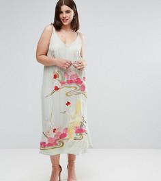 Платье-комбинация с цветочной вышивкой ASOS CURVE PREMIUM - Зеленый