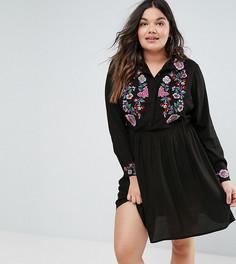 Платье‑рубашка с цветочной вышивкой ASOS CURVE - Мульти