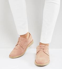 Розовые замшевые дерби с отделкой из светло-коричневой кожи на каблуке ASOS - Розовый