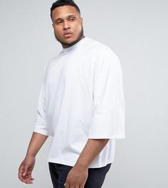 Белая свободная футболка с короткими рукавами летучая мышь ASOS PLUS - Белый