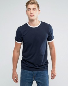 Облегающая футболка с контрастной отделкой D-Struct - Темно-синий