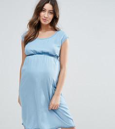 Джинсовое платье с короткими рукавами Mamalicious - Синий Mama.Licious