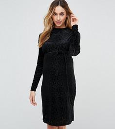 Бархатное платье с выжженным узором Mamalicious - Черный Mama.Licious