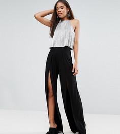 Широкие брюки с разрезами спереди ASOS TALL - Черный