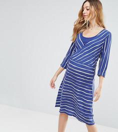 Платье в полоску с рукавами 3/4 Mamalicious - Синий Mama.Licious