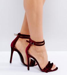 Бордовые босоножки на каблуке из бархата с рюшами Public Desire - Красный