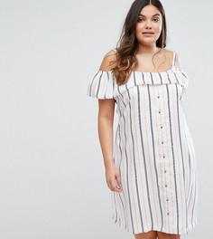 Платье в полоску с открытыми плечами Junarose - Мульти