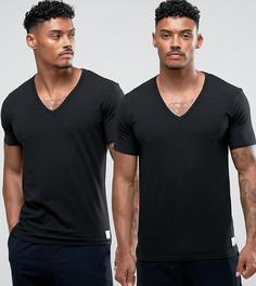 2 черные футболки с V-образным вырезом Calvin Klein - Черный